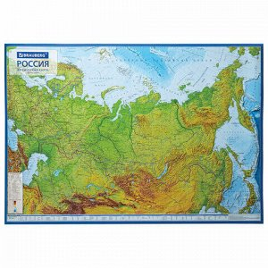 Карта России физическая 101х70 см, 1:8,5М, с ламинацией, интерактивная, европодвес, BRAUBERG, 112392