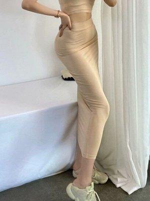 Женская длинная юбка в обтяжку, цвет бежевый