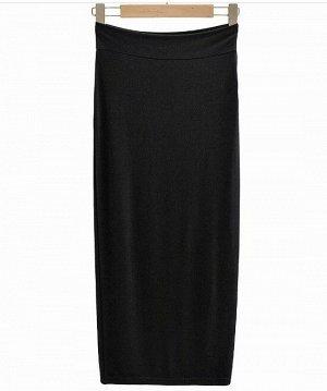 Женская длинная юбка в обтяжку, цвет черный