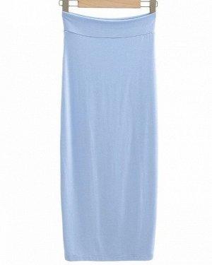 Женская длинная юбка в обтяжку, цвет голубой