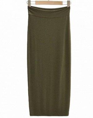Женская длинная юбка в обтяжку, цвет зеленый