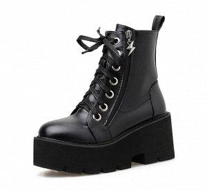 Женские демисезонные ботинки на замке и шнурках, цвет черный