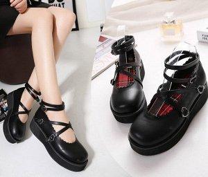 Женские туфли с ремешками, цвет черный