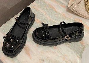 Женские туфли с бантом, цвет черный