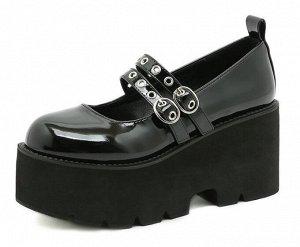 Женские туфли на платформе, цвет черный