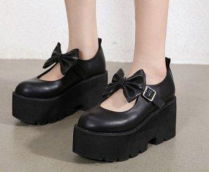 Женские туфли на платформе, с бантиком, цвет черный