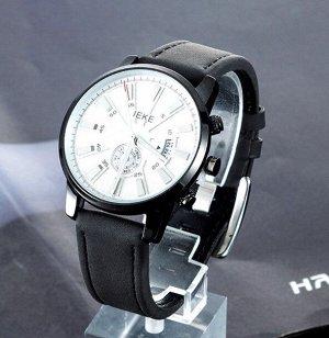 Мужские наручные часы с ремешком из экокожи, цвет черный