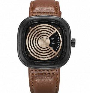 Мужские наручные часы с ремешком из экокожи, цвет коричневый