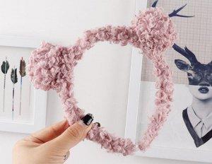 Ободок для волос кучерявый с ушками, цвет розовый, 2 шт