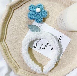 Плюшевый ободок для головы, декор в виде цветочка, цвет синий/белый
