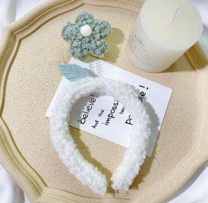 Плюшевый ободок для головы, декор в виде цветочка, цвет серый/белый