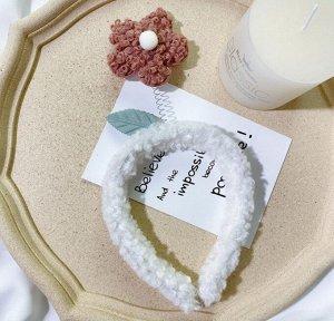 Плюшевый ободок для головы, декор в виде цветочка, цвет коричневый/белый