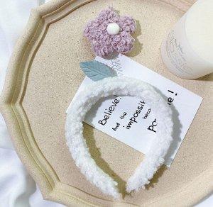 Плюшевый ободок для головы, декор в виде цветочка, цвет розовый/белый