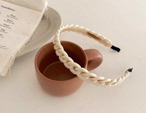 Ободок для волос, декор в виде звеньев цепи, цвет молочный, 2 шт