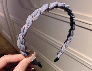 Ободок для волос, декор в виде намотанной объёмной ткани, цвет серый, 2 шт