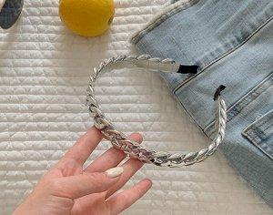 Ободок для волос, декор в виде звеньев цепи, цвет серебристый, 2 шт