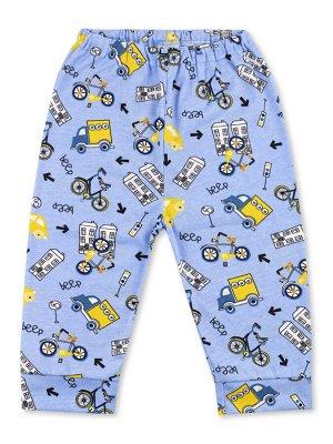 Штанишки ЦВЕТ: Синий светлый; РИСУНОК: Транспорт; СОСТАВ: Хлопок 100%; МАТЕРИАЛ: Кулирка Очаровательные штанишки на удобной вшитой резинке. Симпатичный набивной рисунок, притачные манжеты по низу штан