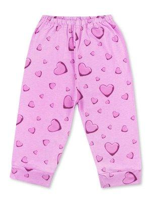 Штанишки ЦВЕТ: Розовый; РИСУНОК: Сердечки; СОСТАВ: Хлопок 100%; МАТЕРИАЛ: Кулирка Очаровательные штанишки на удобной вшитой резинке. Симпатичный набивной рисунок, притачные манжеты по низу штанин. Изг