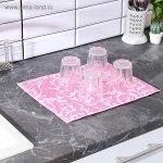 Салфетка для сушки посуды Доляна «Флёр», 30×40 см, микрофибра, цвет розовый