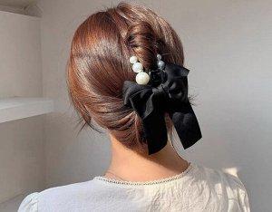 Крабик для волос с бантиком, декор в виде жемчужин, цвет черный, 2 шт