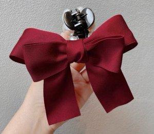 Крабик для волос с бантиком, декор в виде жемчужин, цвет красный, 2 шт