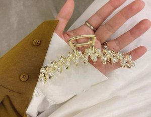 Крабик для волос, декор в виде зигзага и жемчужных полусфер, цвет  золотистый , 2 шт