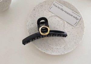 Крабик для волос узкий, декор в виде кольца, цвет черный, 2 шт