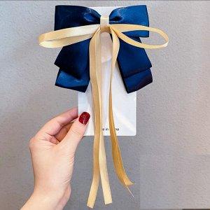 Заколка-зажим с бантиком и ленточкой, цвет синий