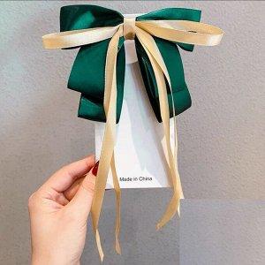Заколка-зажим с бантиком и ленточкой, цвет изумрудный зеленый