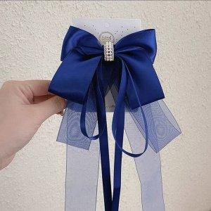 Заколка-зажим с бантиком и двумя разными по размеру ленточками, цвет синий