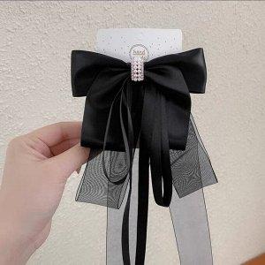 Заколка-зажим с бантиком и двумя разными по размеру ленточками, цвет черный