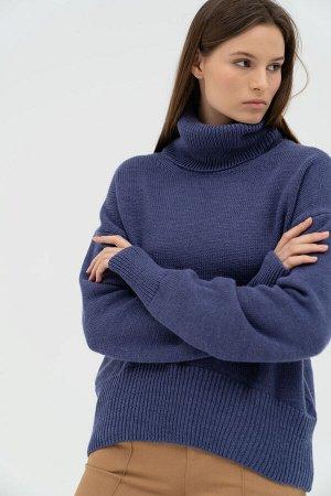 Свитер Модель: свитер. Цвет: синий. Комплектация: свитер. Состав: шерсть-50%, акрил-50%. Бренд: aim. Фактура: однотонная. Плотность: средняя.