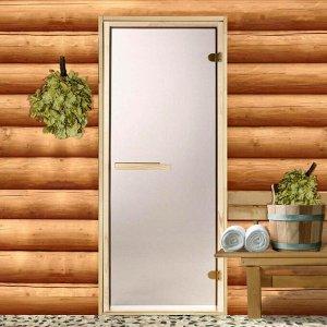 Дверь для бани и сауны стеклянная «Бронза», коробка 190 ? 70 см, 6 мм, 2 петли