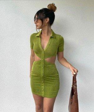 Женское платье-футболка, на пуговицах, с вырезами на талии, цвет зеленый
