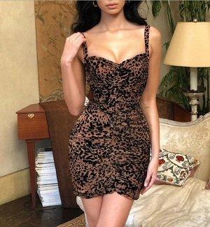 """Женское платье, принт """"Леопард"""", цвет коричневый"""