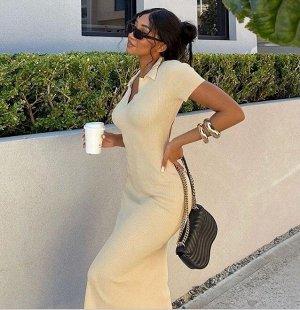 Женское платье-футболка, цвет молочный
