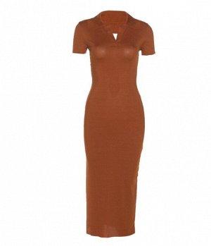 Женское платье-футболка, цвет коричневый