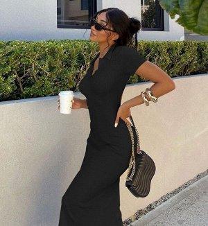 Женское платье-футболка, цвет черный
