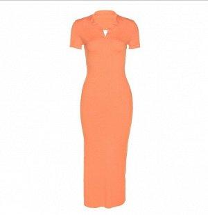 Женское платье-футболка, цвет оранжевый