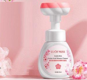 Очищающий мусс-пенка для умывания с аминокислотами и авокадо LUOFMISS sakura amino acid mousse cleanser