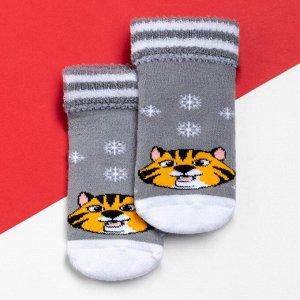 """Носки детские махровые Крошка Я """"Тигр"""", серый, 8-10 см"""