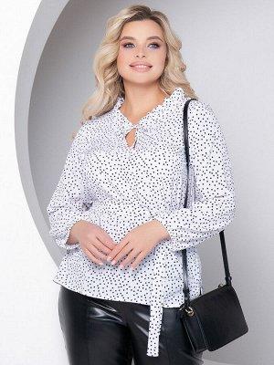 """Блузки Блузка А- силуэта, выполнена из легкой блузочной ткани с принтом """"горох"""". - принт""""горох"""" - горловина с фигурным вырезом оформлена рюшей и завязками - длинные втачные рукава собраны на резинку"""
