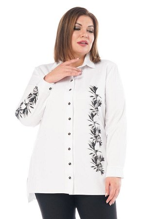 Рубашка удлиненная с вертикальным рисунком сбоку