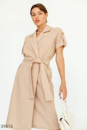 Кофейное льняное платье