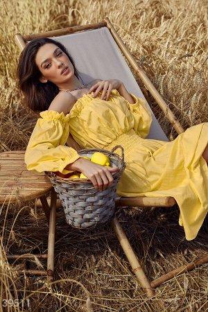 Нежное хлопковое платье желтого цвета