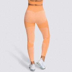 Оранжевые меланжевые спортивные леггинсы с высокой талией
