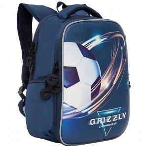 Рюкзак Grizzly, 26*36*17см, 2 отделения, 2 кармана, анатомическая спинка, синий