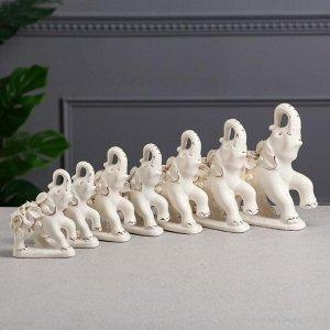 """Набор статуэток """"Слоны"""", 7 предметов, белая лепка, гламур, керамика"""