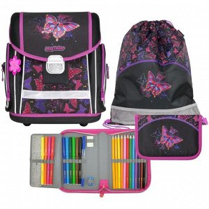 Ранец на замке Mag Taller EVO 35х30х21 см, с наполнением: мешок, пенал; Rainbow Butterfly
