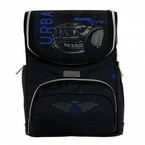 Ранец Стандарт deVENTE Mini 35 х 26 х 20 см, Urban Car, чёрный/синий, часы в подарок